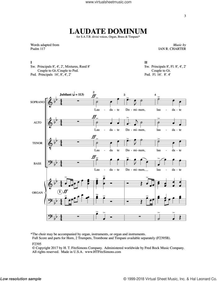 Laudate Dominum sheet music for choir (SATB: soprano, alto, tenor, bass) by Ian R. Charter, intermediate skill level