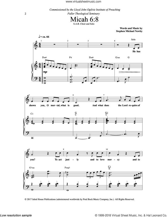 Micah 6:8/ For I Desire Mercy sheet music for choir (SAB: soprano, alto, bass) by Stephen Michael Newby, intermediate skill level