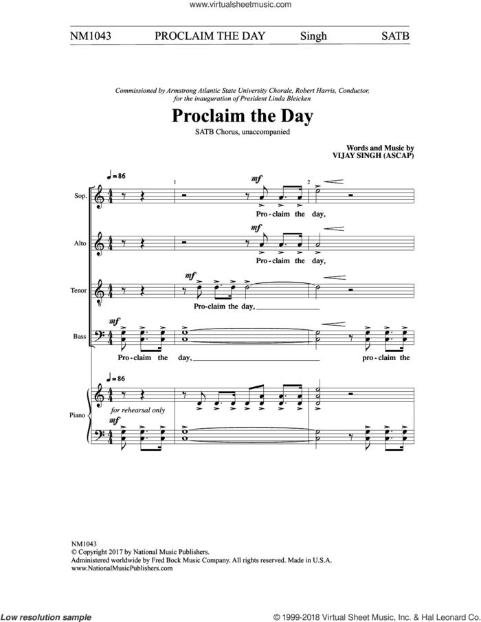 Proclaim the Day sheet music for choir (SATB: soprano, alto, tenor, bass) by Vinjay Singh, intermediate skill level