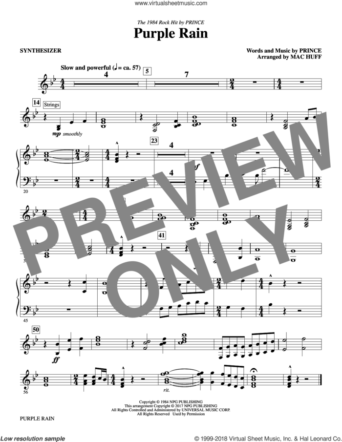 Purple Rain (complete set of parts) sheet music for orchestra/band by Mac Huff and Prince, intermediate skill level