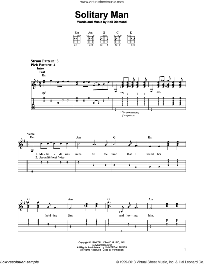 Solitary Man sheet music for guitar solo (easy tablature) by Neil Diamond, easy guitar (easy tablature)