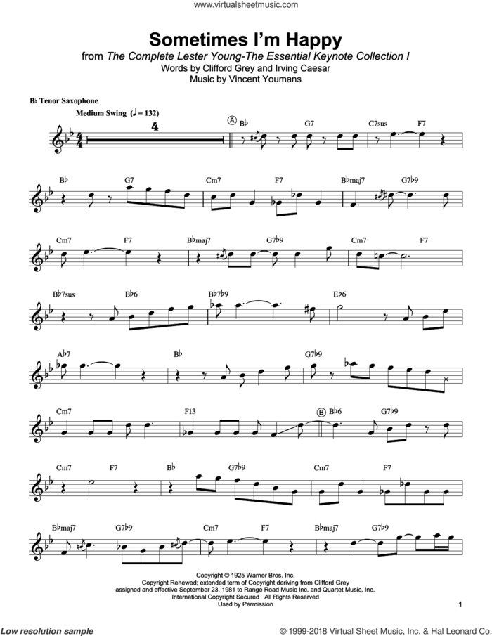 Sometimes I'm Happy sheet music for tenor saxophone solo (transcription) by Lester Young, Irving Caesar and Vincent Youmans, intermediate tenor saxophone (transcription)