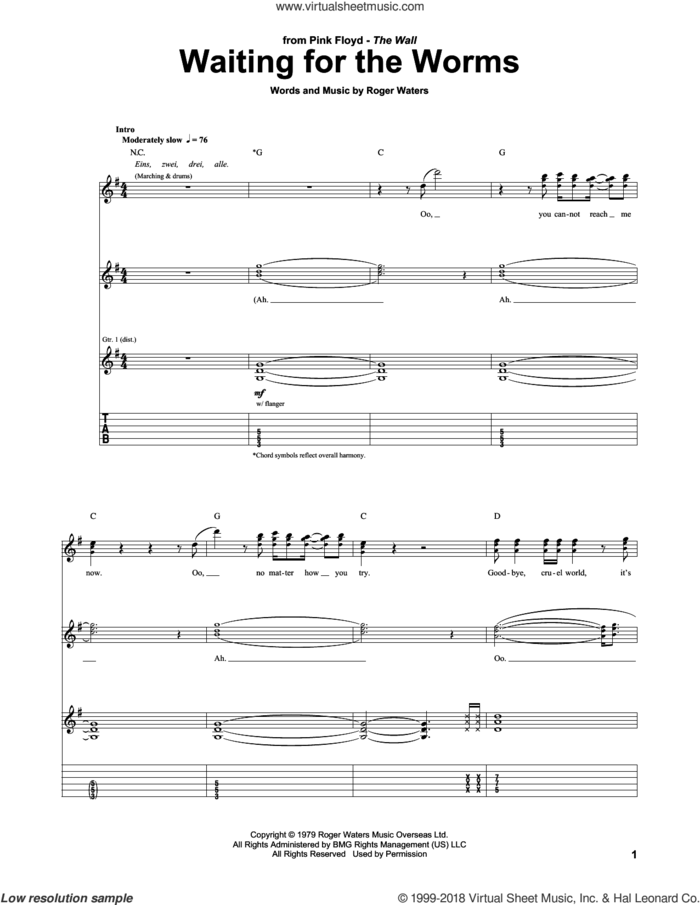 Waiting For The Worms sheet music for guitar (tablature) by Pink Floyd and Roger Waters, intermediate skill level