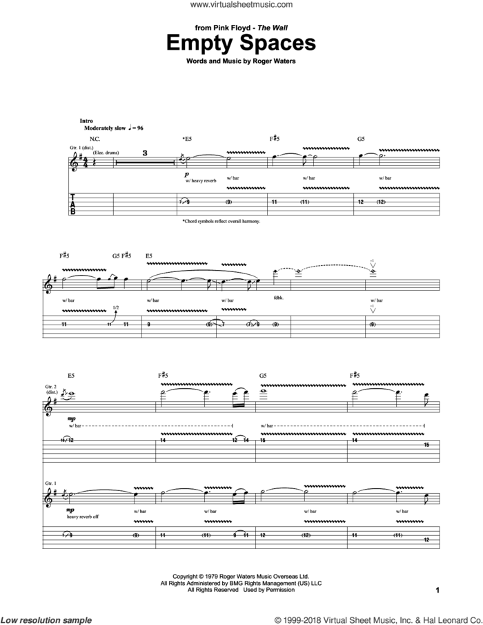 Empty Spaces sheet music for guitar (tablature) by Pink Floyd and Roger Waters, intermediate skill level