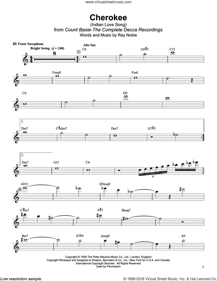 Cherokee (Indian Love Song) sheet music for tenor saxophone solo (transcription) by Lester Young and Ray Noble, intermediate tenor saxophone (transcription)