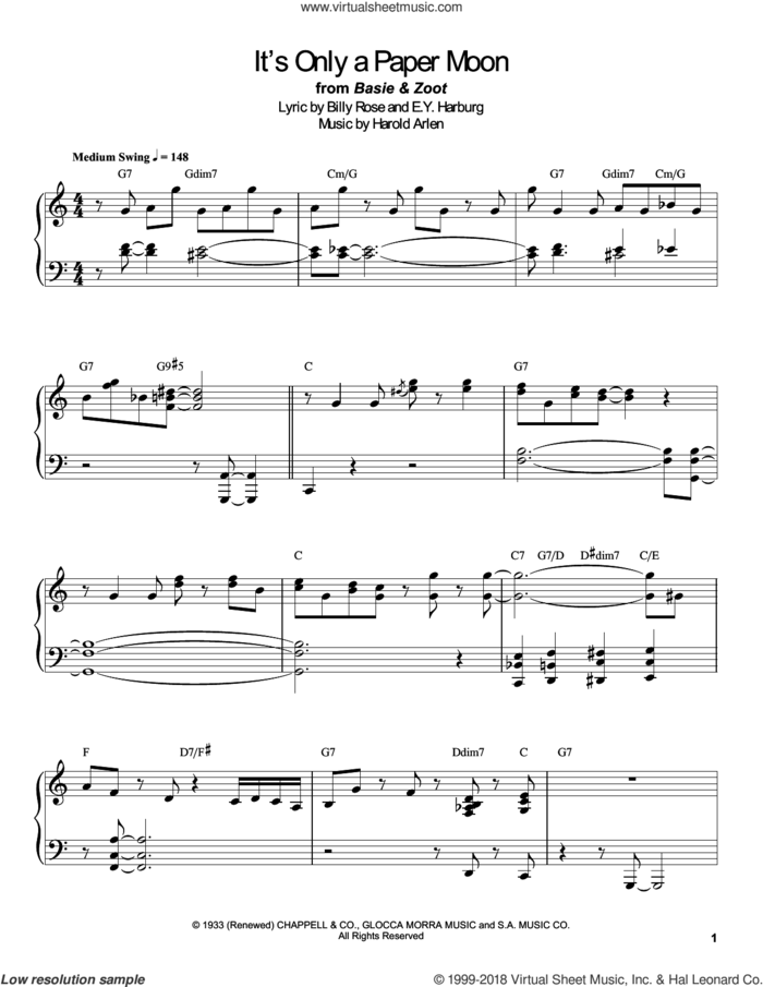 It's Only A Paper Moon sheet music for piano solo (transcription) by Count Basie, E.Y. Harburg and Harold Arlen, intermediate piano (transcription)