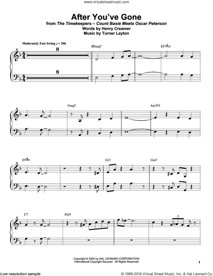 After You've Gone sheet music for piano solo (transcription) by Count Basie, Henry Creamer and Turner Layton, intermediate piano (transcription)