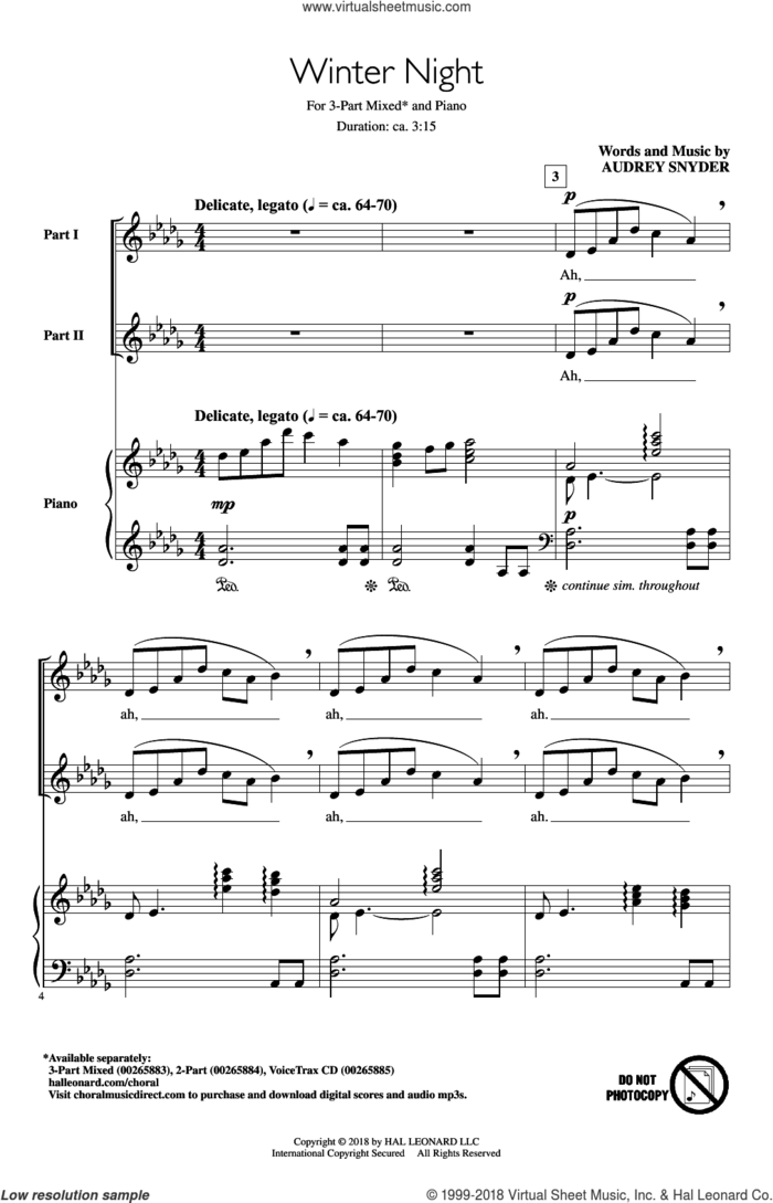 Winter Night sheet music for choir (3-Part Mixed) by Audrey Snyder, intermediate skill level