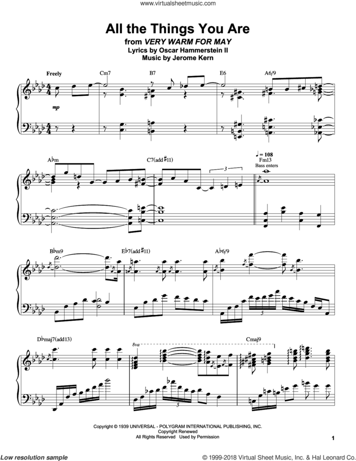 All The Things You Are sheet music for piano solo (transcription) by Oscar Peterson, Jerome Kern and Oscar II Hammerstein, intermediate piano (transcription)
