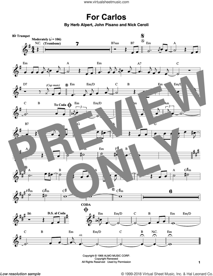 For Carlos sheet music for trumpet solo (transcription) by Herb Alpert, John Pisano and Nick Ceroli, intermediate trumpet (transcription)