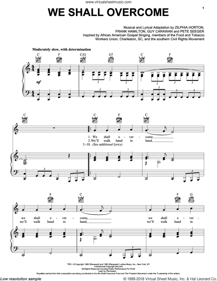 We Shall Overcome sheet music for voice, piano or guitar by Joan Baez, Frank Hamilton, Guy Carawan and Pete Seeger, intermediate skill level