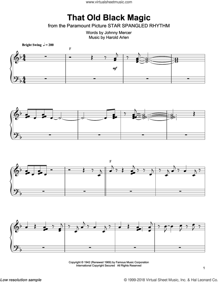 That Old Black Magic sheet music for piano solo (transcription) by Oscar Peterson, Harold Arlen and Johnny Mercer, intermediate piano (transcription)