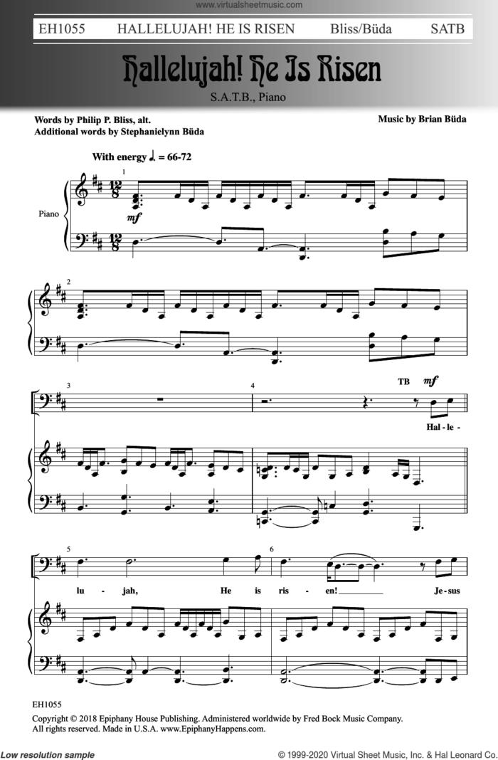 Hallelujah! He Is Risen sheet music for choir (SATB: soprano, alto, tenor, bass) by Brian Buda, Stephanielynn Buda and Philip P. Bliss, intermediate skill level