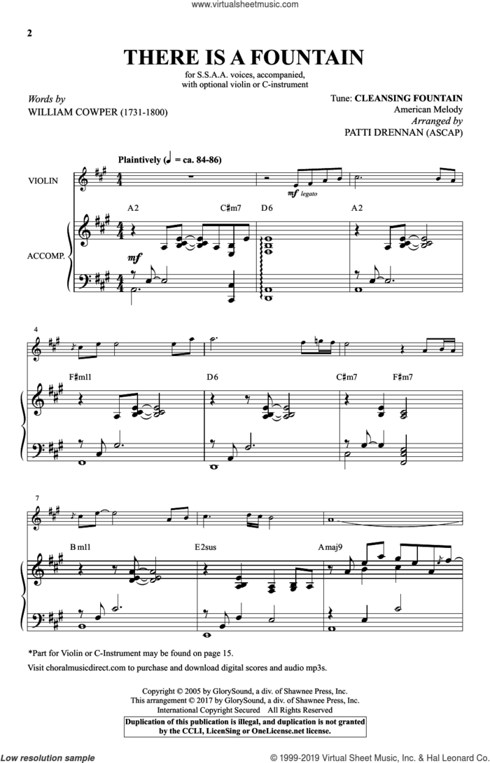 There Is A Fountain sheet music for choir (SSAA: soprano, alto) by Patti Drennan, Miscellaneous and William Cowper, intermediate skill level