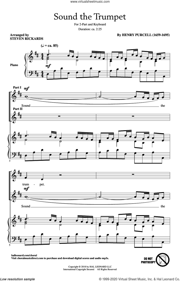 Sound The Trumpet sheet music for choir (2-Part) by Steven Rickards and Henry Purcell, intermediate duet
