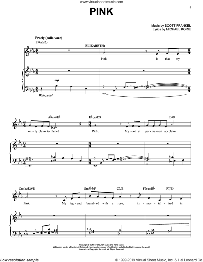 Pink sheet music for voice and piano by Scott Frankel & Michael Korie, Michael Korie and Scott Frankel, intermediate skill level
