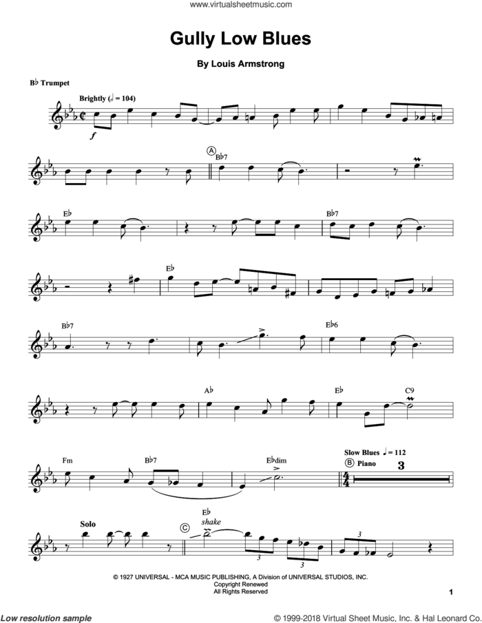Gully Low Blues sheet music for trumpet solo (transcription) by Louis Armstrong, intermediate trumpet (transcription)