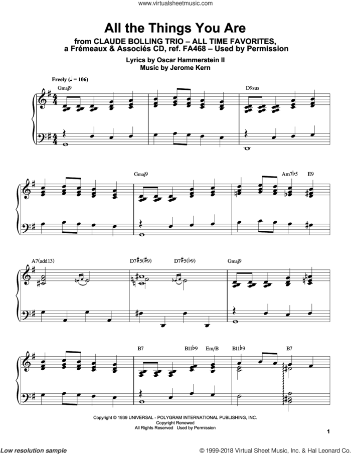 All The Things You Are sheet music for piano solo (transcription) by Claude Bolling, Jerome Kern and Oscar II Hammerstein, intermediate piano (transcription)