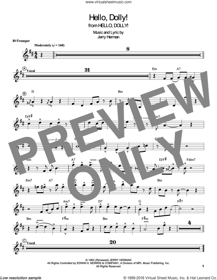 Hello, Dolly! sheet music for trumpet solo (transcription) by Louis Armstrong and Jerry Herman, intermediate trumpet (transcription)