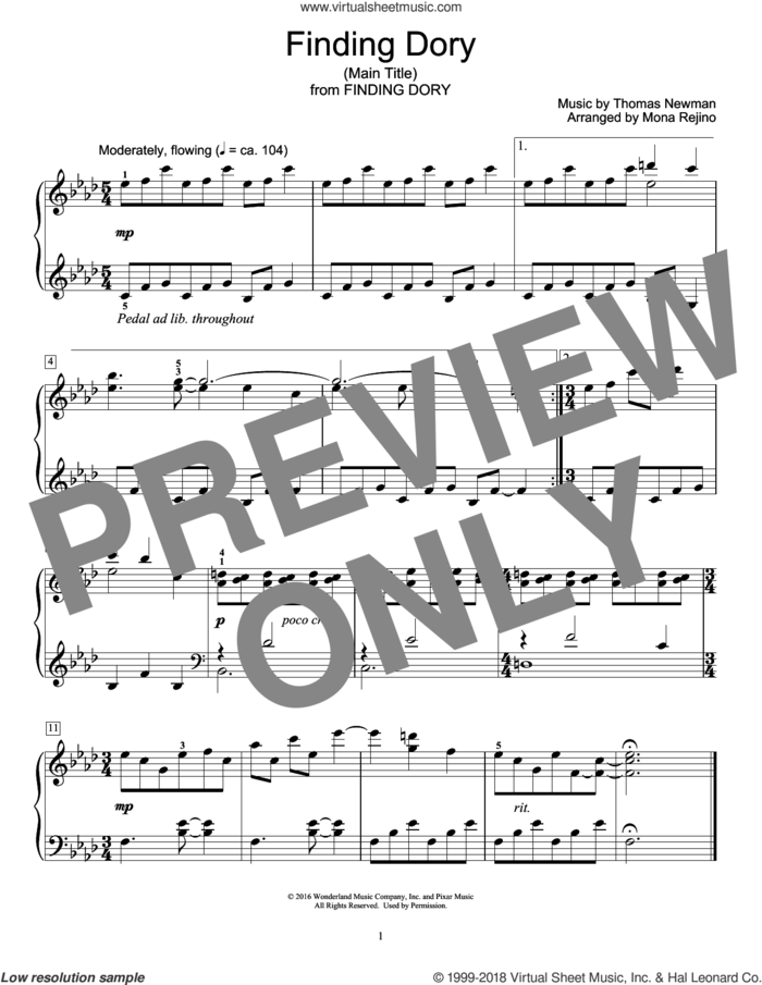 Finding Dory (Main Title) (arr. Mona Rejino) sheet music for piano solo (elementary) by Mona Rejino and Thomas Newman, beginner piano (elementary)
