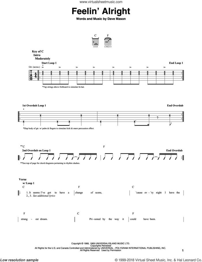 Feelin' Alright sheet music for guitar solo (lead sheet) by Joe Cocker, Traffic and Dave Mason, intermediate guitar (lead sheet)
