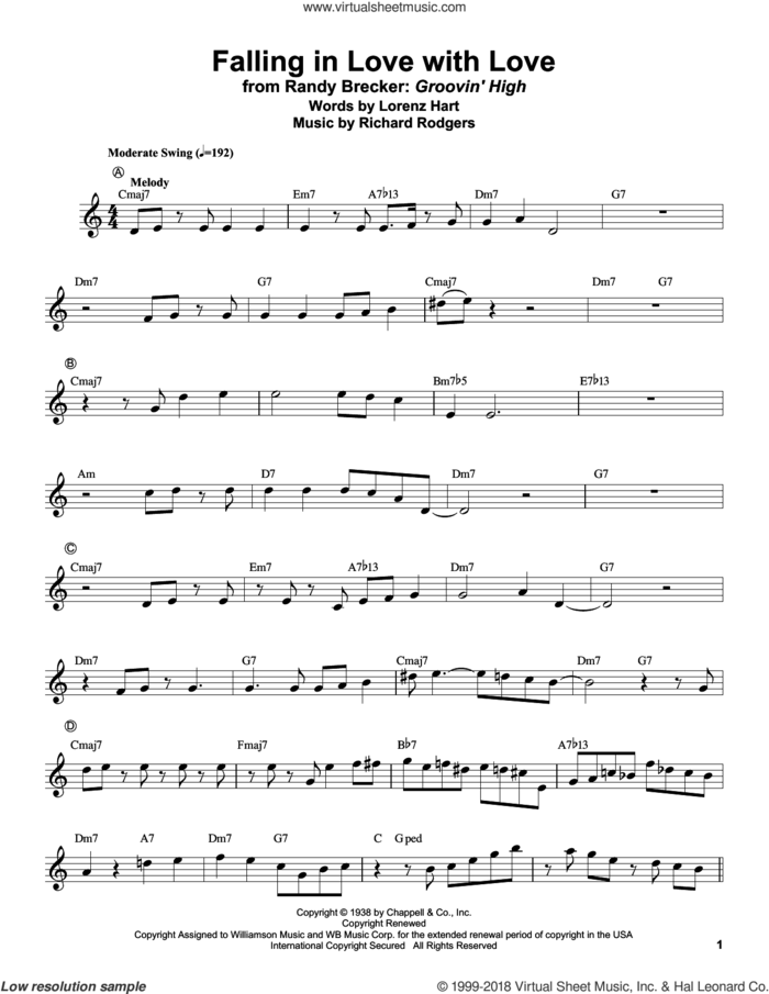 Falling In Love With Love sheet music for trumpet solo (transcription) by Randy Brecker, Lorenz Hart and Richard Rodgers, intermediate trumpet (transcription)