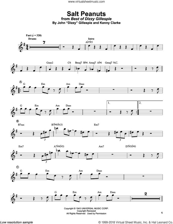 Salt Peanuts sheet music for trumpet solo (transcription) by Dizzy Gillespie and Kenny Clarke, intermediate trumpet (transcription)