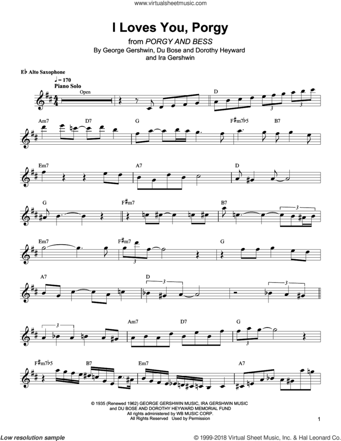 I Loves You, Porgy sheet music for alto saxophone (transcription) by Bud Shank, DuBose Heyward and Ira Gershwin, intermediate skill level
