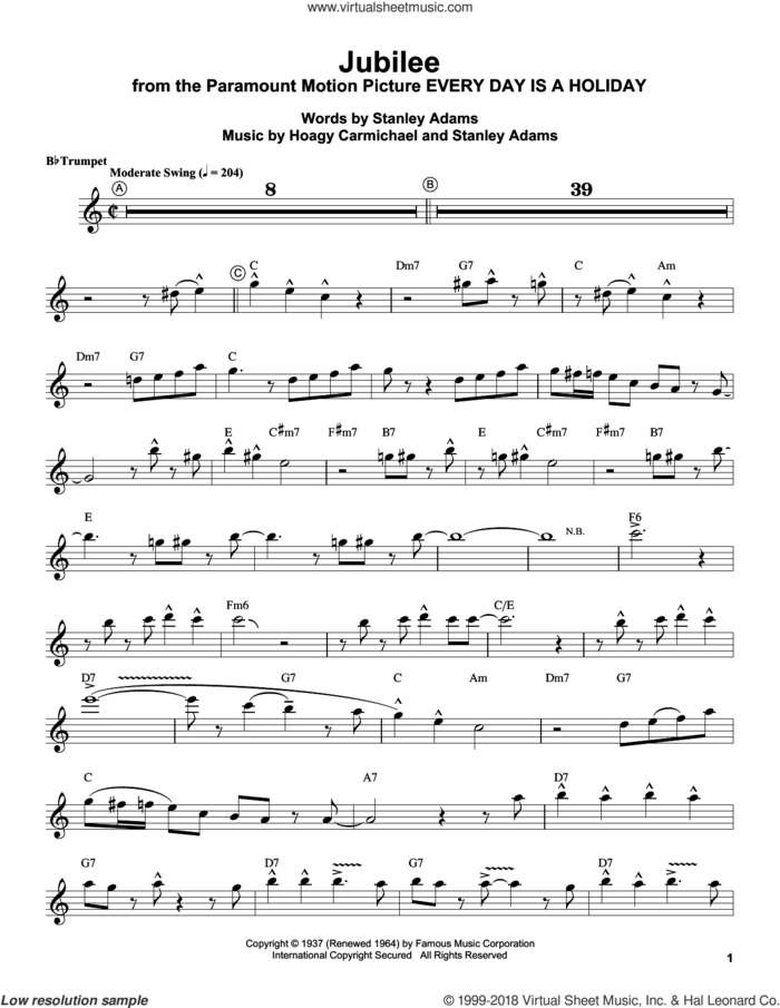 Jubilee sheet music for trumpet solo (transcription) by Louis Armstrong, Hoagy Carmichael and Stanley Adams, intermediate trumpet (transcription)