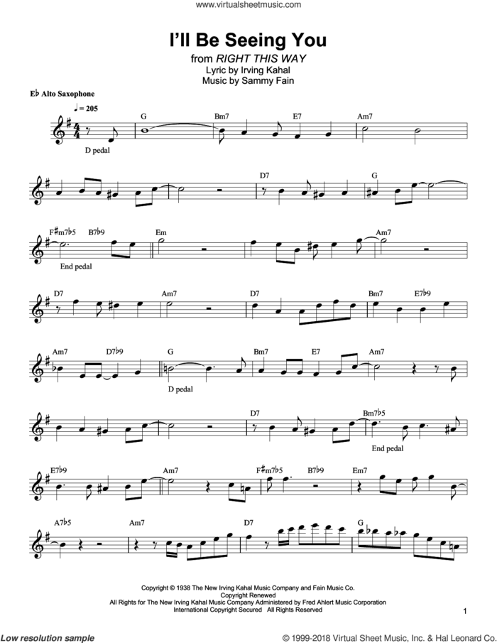 I'll Be Seeing You sheet music for alto saxophone (transcription) by Bud Shank, Irving Kahal and Sammy Fain, intermediate skill level