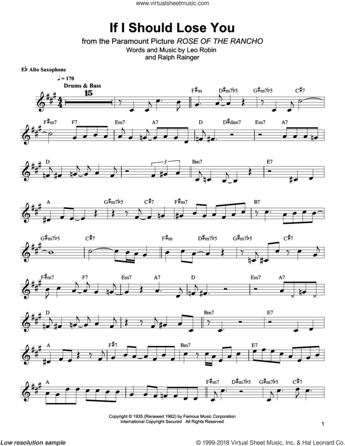 If I Should Lose You sheet music for alto saxophone (transcription) by Bud Shank, Leo Robin and Ralph Rainger, intermediate skill level