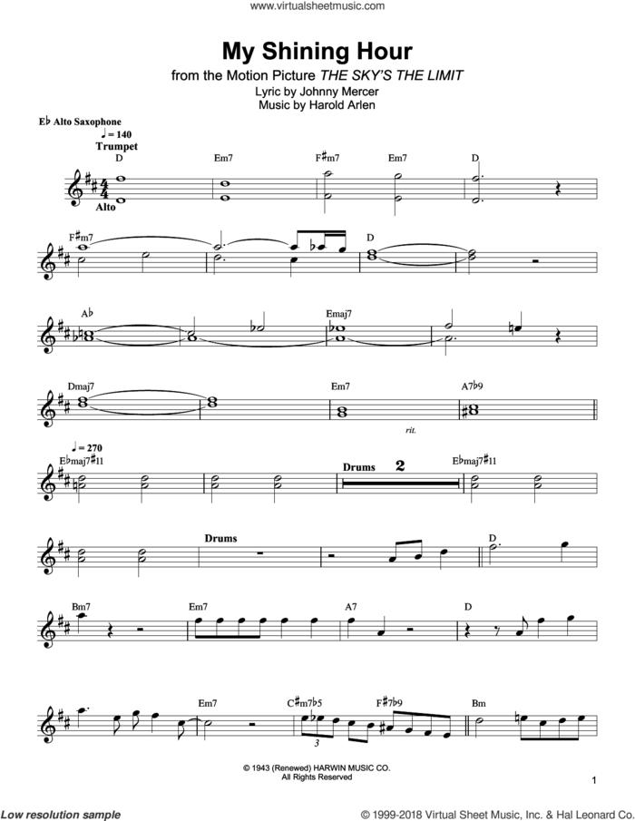 My Shining Hour sheet music for alto saxophone (transcription) by Bud Shank, Harold Arlen and Johnny Mercer, intermediate skill level