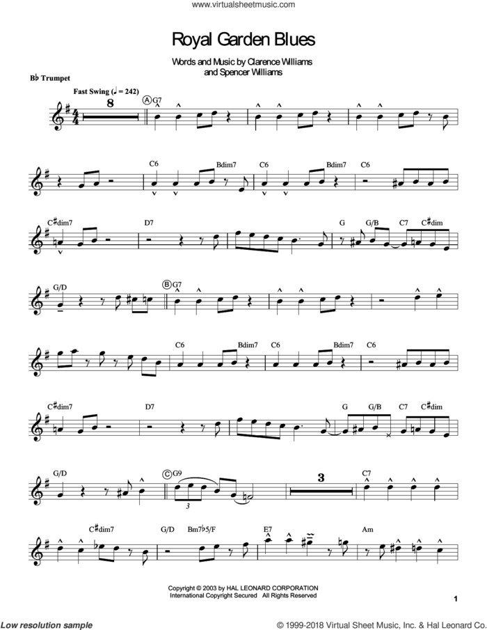 Royal Garden Blues sheet music for trumpet solo (transcription) by Louis Armstrong, Clarence Williams and Spencer Williams, intermediate trumpet (transcription)