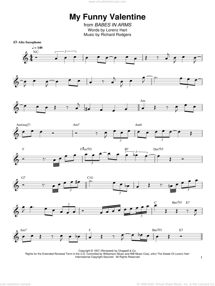 My Funny Valentine sheet music for alto saxophone (transcription) by Bud Shank, Lorenz Hart and Richard Rodgers, intermediate skill level