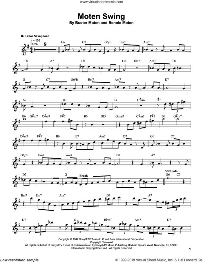 Moten Swing sheet music for tenor saxophone solo (transcription) by Sonny Stitt, Bennie Moten and Buster Moten, intermediate tenor saxophone (transcription)