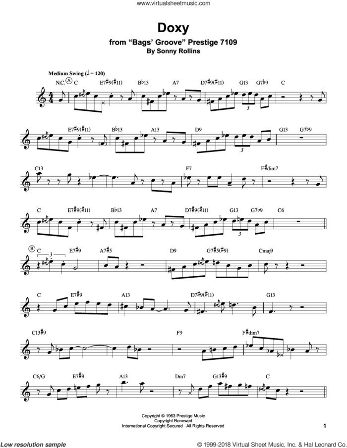 Doxy sheet music for trumpet solo (transcription) by Miles Davis and Sonny Rollins, intermediate trumpet (transcription)