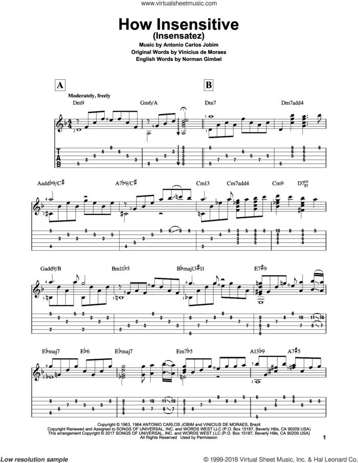 How Insensitive (Insensatez) sheet music for guitar solo by Norman Gimbel, Matt Otten, Astrud Gilberto, Antonio Carlos Jobim and Vinicius de Moraes, intermediate skill level