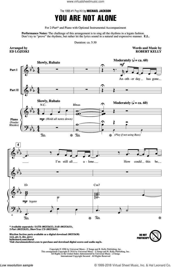 You Are Not Alone sheet music for choir (2-Part) by Robert Kelly, Ed Lojeski and Michael Jackson, intermediate duet