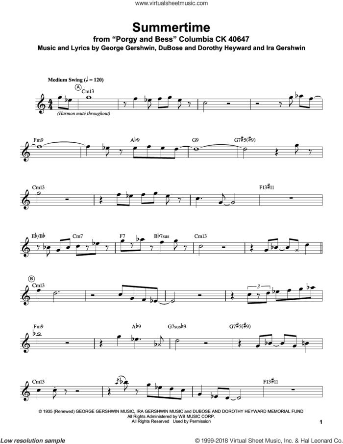 Summertime sheet music for trumpet solo (transcription) by Miles Davis, Dorothy Heyward, DuBose Heyward, George Gershwin and Ira Gershwin, intermediate trumpet (transcription)