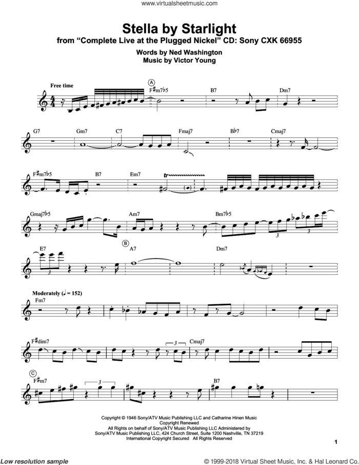 Stella By Starlight sheet music for trumpet solo (transcription) by Miles Davis, Ned Washington and Victor Young, intermediate trumpet (transcription)