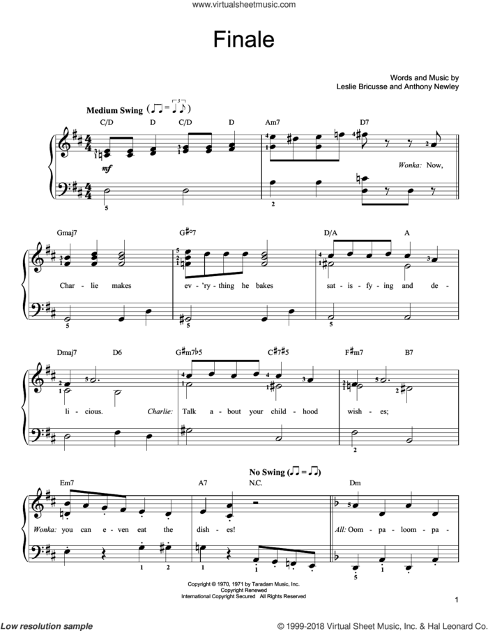 Finale sheet music for piano solo by Leslie Bricusse and Anthony Newley, easy skill level
