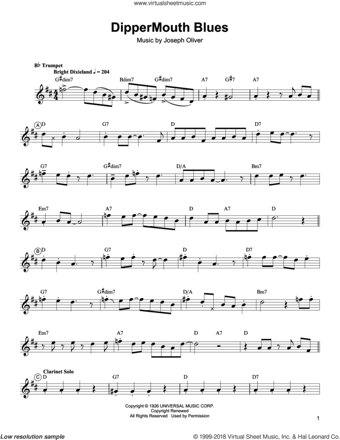 Dippermouth Blues sheet music for trumpet solo (transcription) by Arturo Sandoval, Louis Armstrong and Joe Oliver, intermediate trumpet (transcription)