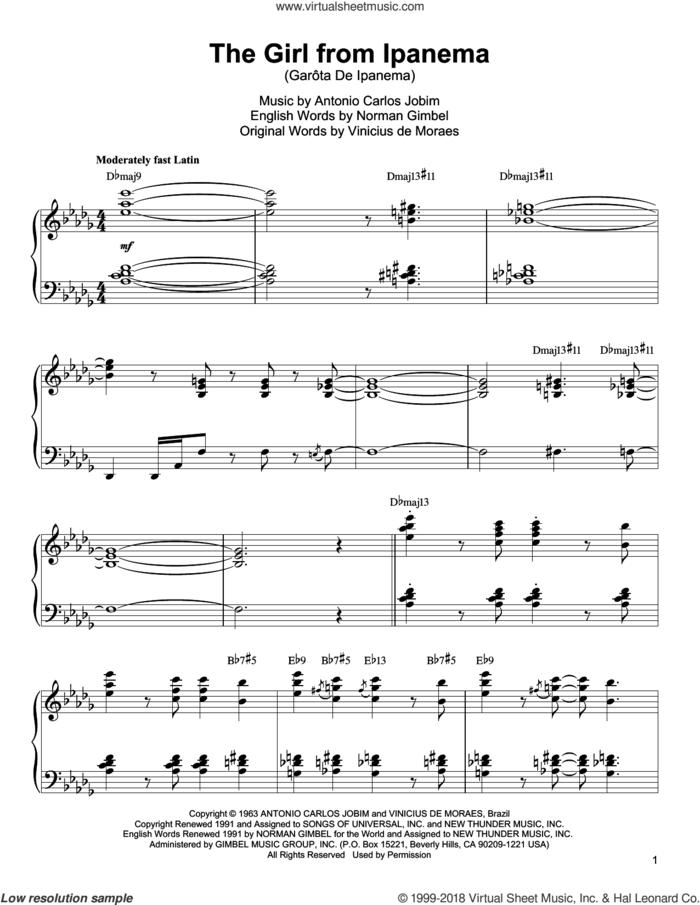 The Girl From Ipanema (Garota De Ipanema) sheet music for piano solo (transcription) by Oscar Peterson, Antonio Carlos Jobim, Norman Gimbel and Vinicius de Moraes, intermediate piano (transcription)