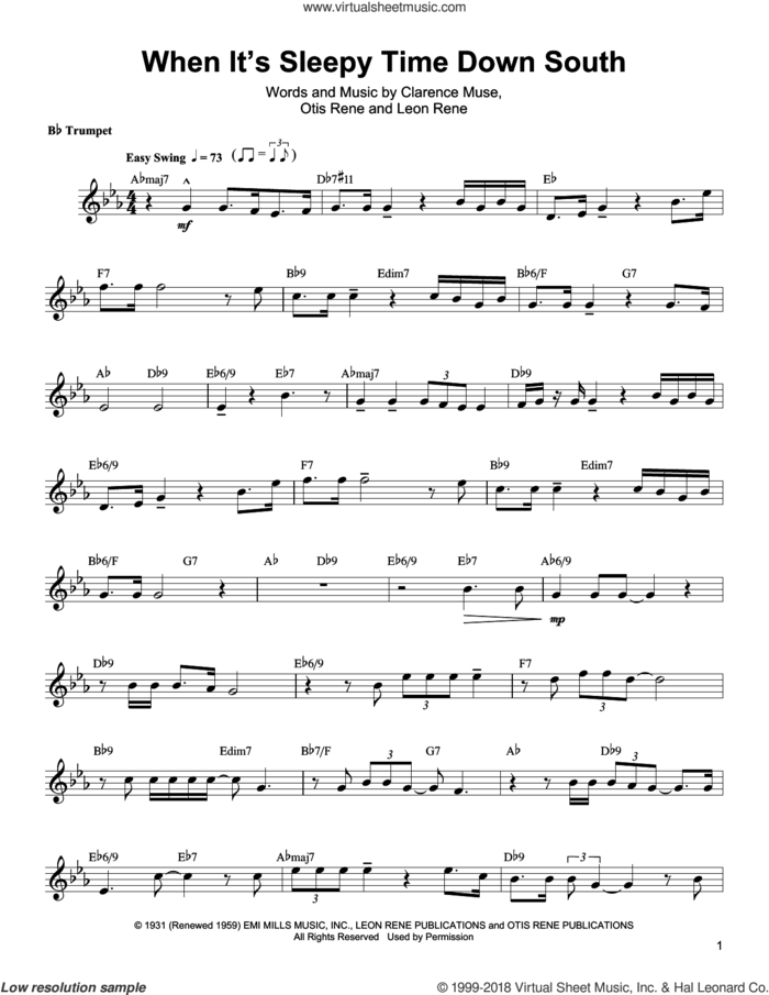 When It's Sleepy Time Down South sheet music for trumpet solo (transcription) by Arturo Sandoval, Louis Armstrong, Clarence Muse, Leon Rene and Otis Rene, intermediate trumpet (transcription)