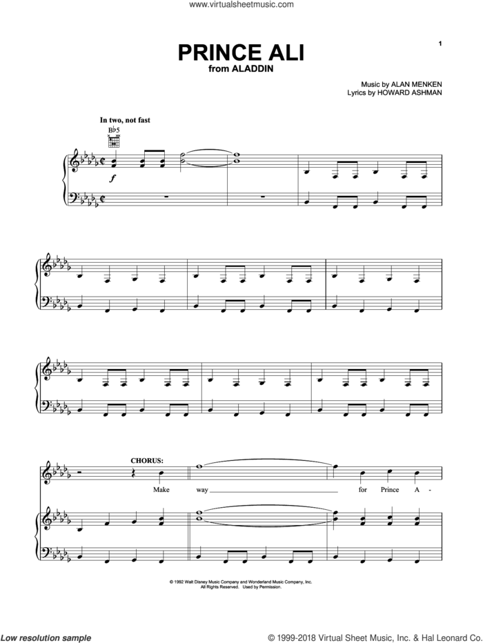 Prince Ali (from Aladdin) sheet music for voice, piano or guitar by Alan Menken and Howard Ashman, intermediate skill level