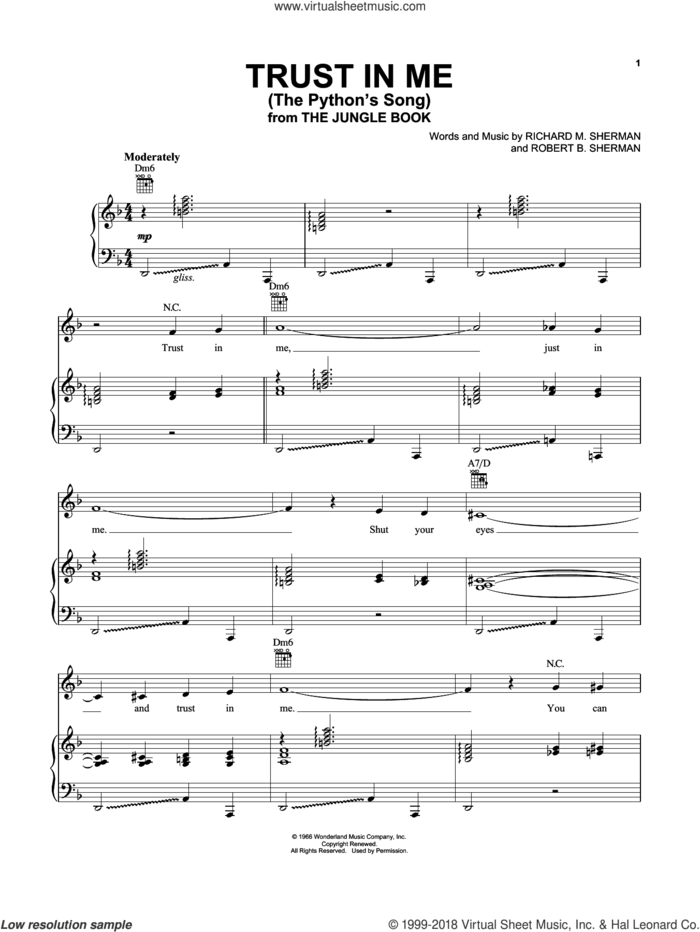 Trust In Me (The Python's Song) (from The Jungle Book) sheet music for voice, piano or guitar by Robert B. Sherman and Richard M. Sherman, intermediate skill level