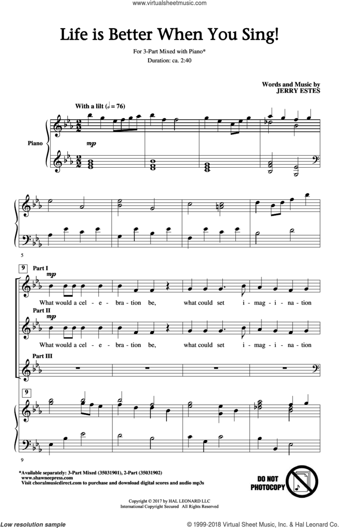 Life Is Better When You Sing! sheet music for choir (3-Part Mixed) by Jerry Estes, intermediate skill level