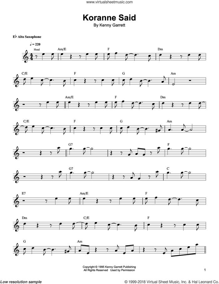 Koranne Said sheet music for alto saxophone (transcription) by Kenny Garrett, intermediate skill level