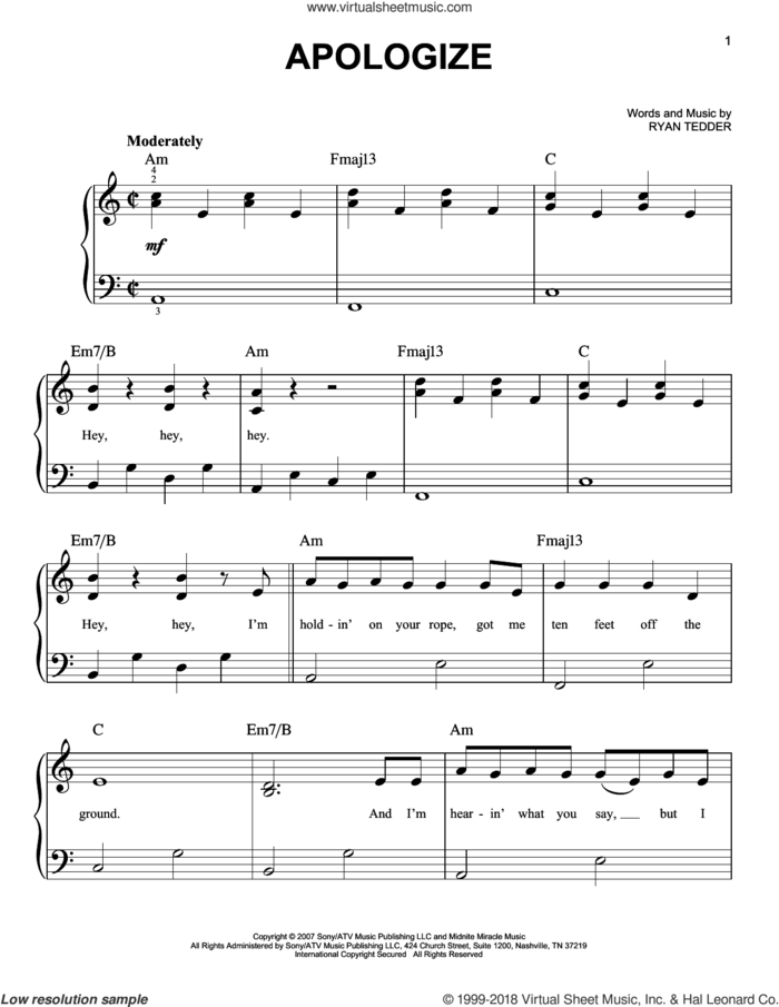Apologize, (beginner) sheet music for piano solo by Timbaland featuring OneRepublic and Ryan Tedder, beginner skill level