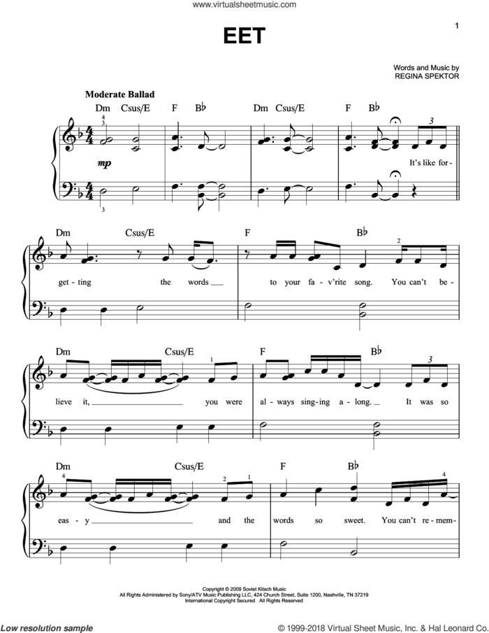 Eet sheet music for piano solo by Regina Spektor, beginner skill level